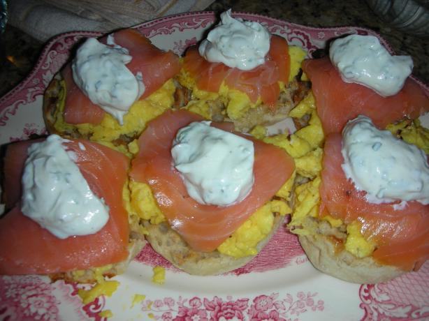 Scrambled Egg Muffins With Smoked Salmon and Sour Cream