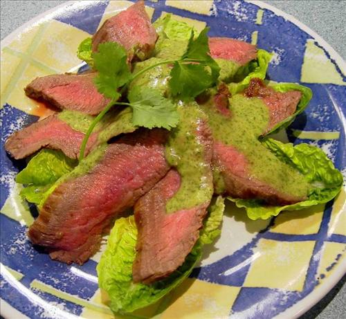 skirt steak w/basil sauce