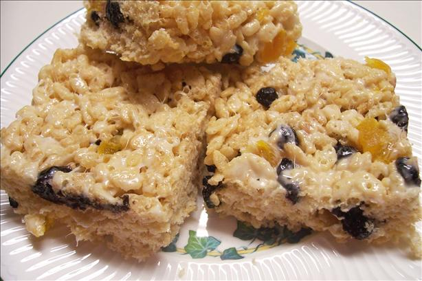 Blueberry Peach Rice Krispies Treats
