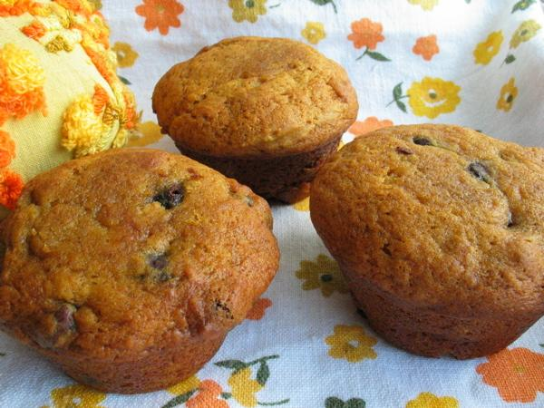 Pumpkin Chocolate Covered Raisin Muffins