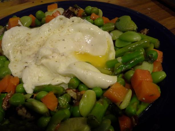 Broad Bean and Asparagus Salad With Poached Egg