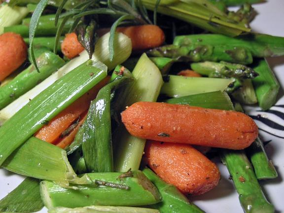 Roasted Asparagus, Baby Carrots, and Scallions