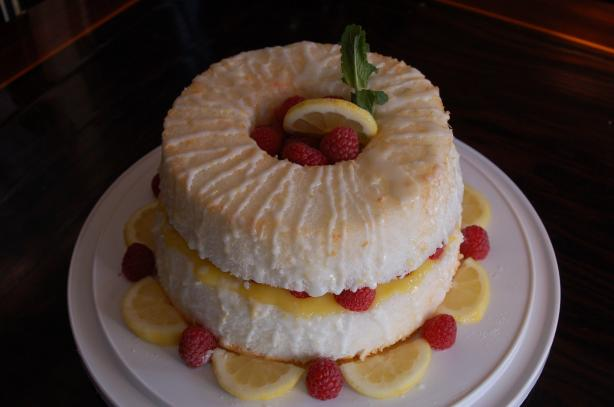 Lemon Angel Food Cake Filled With Lemon Curd and Fresh Raspberry