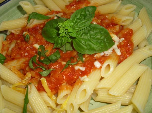 Thick Cheesy, Tomato, Lentil Pasta Sauce