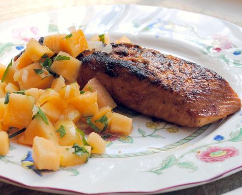 Moroccan Roasted Salmon With Mango Salsa