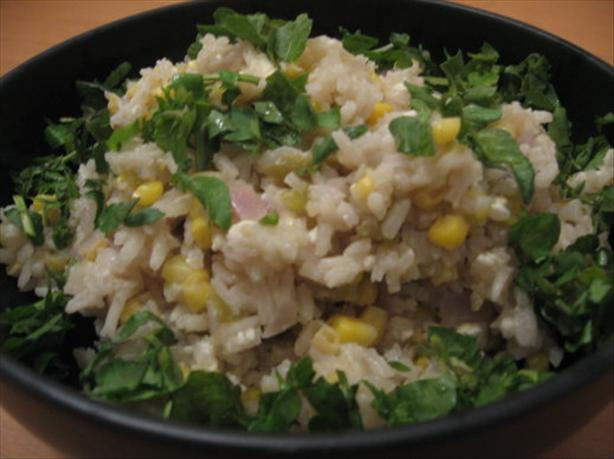 White Rice Pilaf With Corn, Roasted Chiles and Fresh Cheese