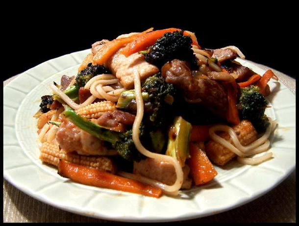 Sticky Pork and Hokkein Noodle Stir Fry