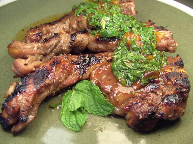 Grilled Lamb Shoulder Chops With Fresh Mint Sauce