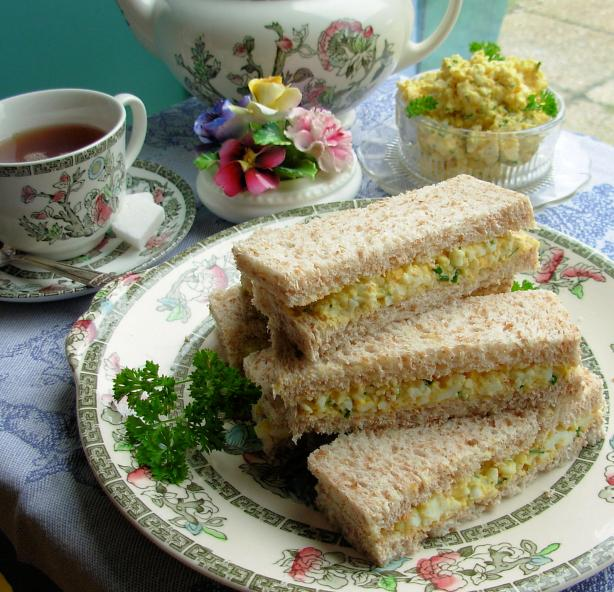 Dainty Egg and Chive Tea Sandwiches for Tea-Time