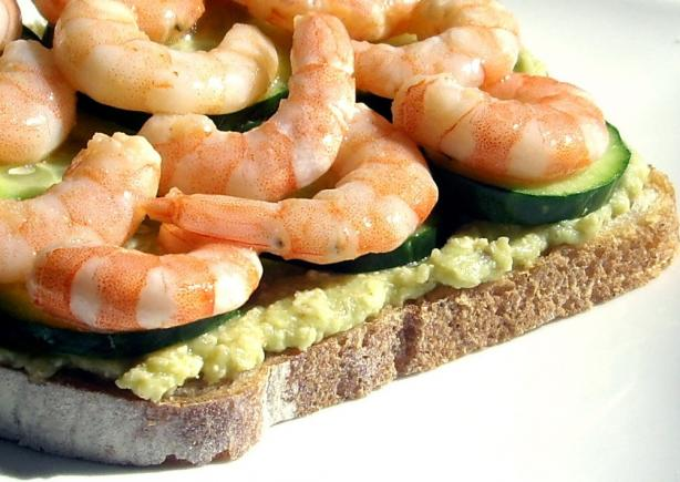 Avocado Butter With Baby Shrimp Sandwiches