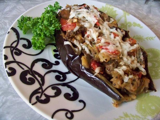 Stuffed Eggplant With Cheese and Tomatoes