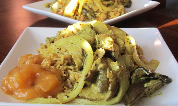 "Eggplant Curry ""no-Fry"" Sri Lankan Style Using Coconut"
