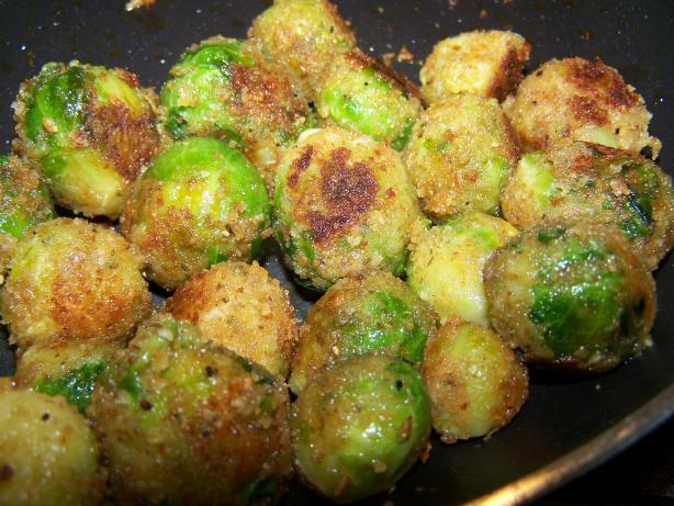 Cheesy Fried Brussels Sprouts
