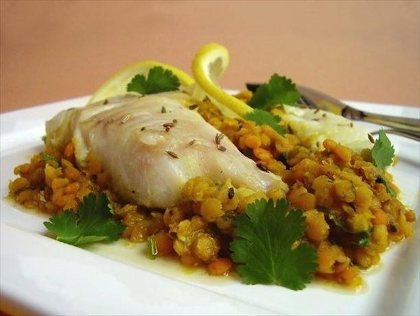 Cod With Spiced Red Lentils