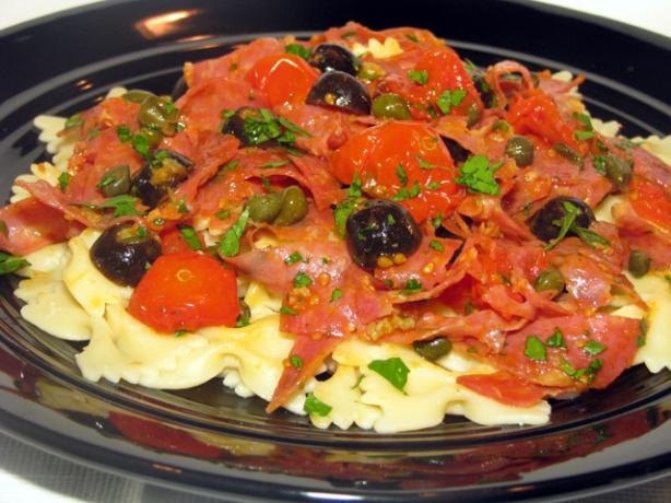 Tagliatelle With Salami, Olives and Oven-Roasted Tomatoes