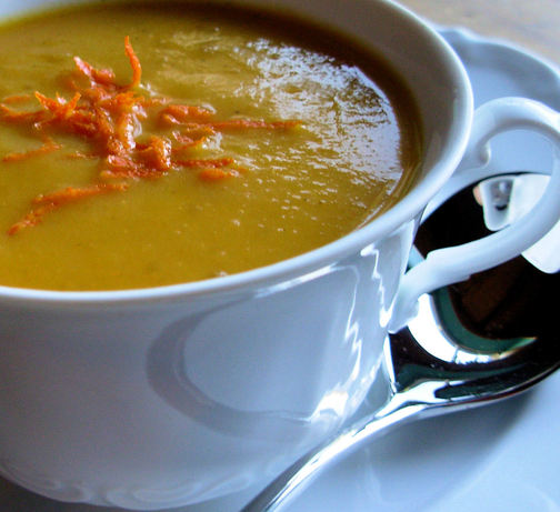 Christmas Clementine, Carrot and Coriander Soup W/ Citrus Twists