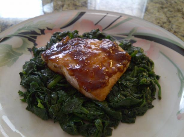 Javanese Roasted Salmon and Wilted Spinach