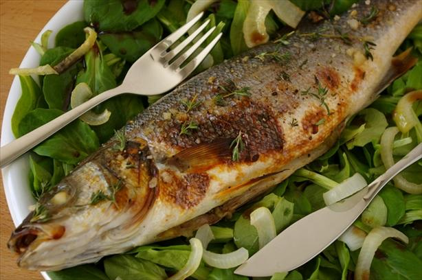 Sea Bass Baked With Onion and Honey