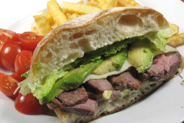 Roast Beef Sandwich with Spicy Mayo and Avocado
