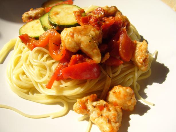 Chicken With Peppers, Zucchini and Tomatoes on Angel Hair