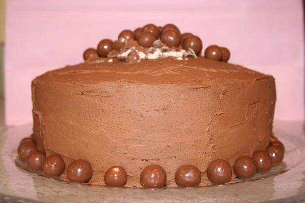 Deep Chocolate Cake With Double-Malt Topping