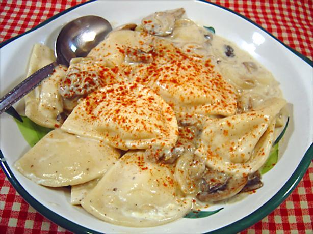 Pierogies With Creamy Mushroom and Sherry Sauce