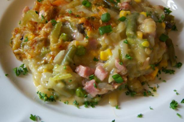 Ham, Hash Browns & Veggies Casserole