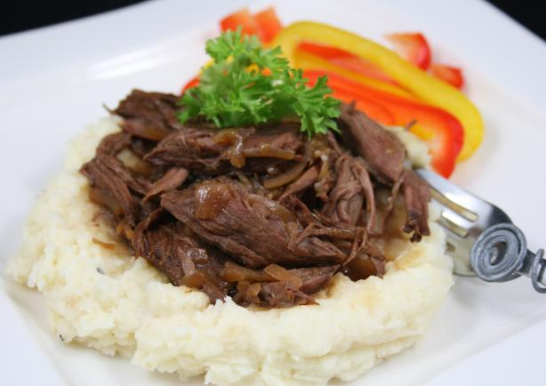 French Onion Beef over Garlic Mashed Potatoes