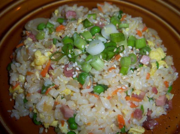 Simple Ham (Or Pork) Fried Rice W/Sesame Oil No Wok Needed