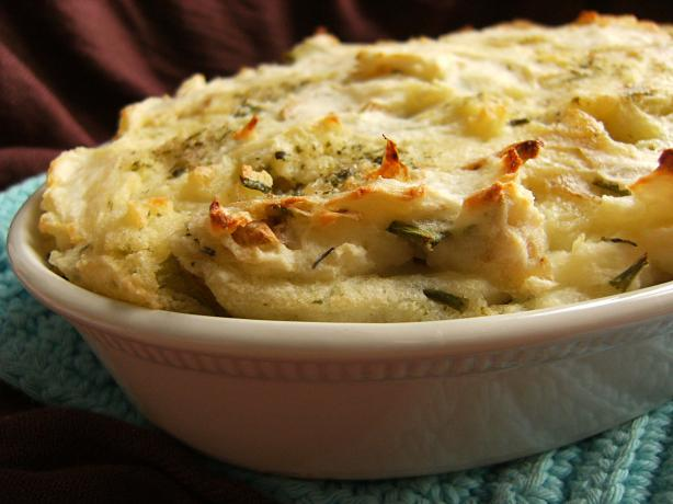 Mashed Potato, Cheese and Chive Gratin