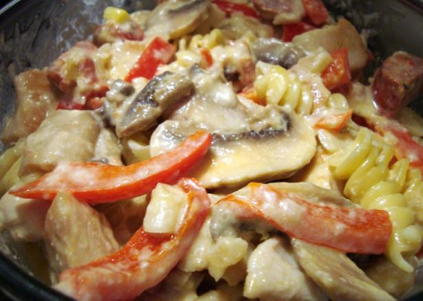 Bow Ties With Chicken and Asiago Cheese Sauce