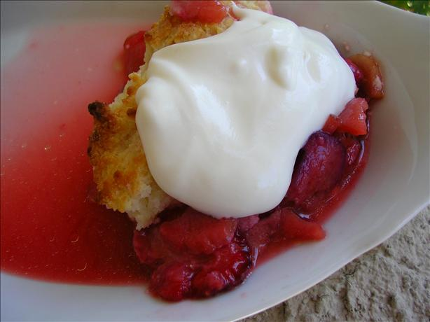 Strawberry Rhubarb Cobbler With Candied Ginger (oamc)
