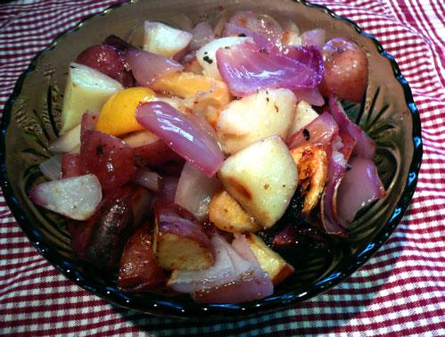 Lemon and Red Onion Roasted Potatoes