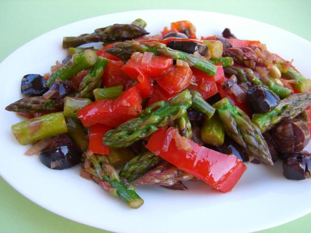 Sauteed Asparagus with Red Peppers & Olives