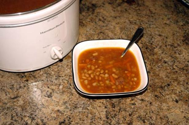 Tepary Bean and Turkey Bacon Soup for a 2.5 Quart Crock Pot