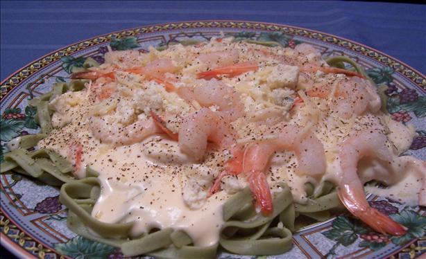 Shrimp Fettuccine Alfredo over Spinach Noodles