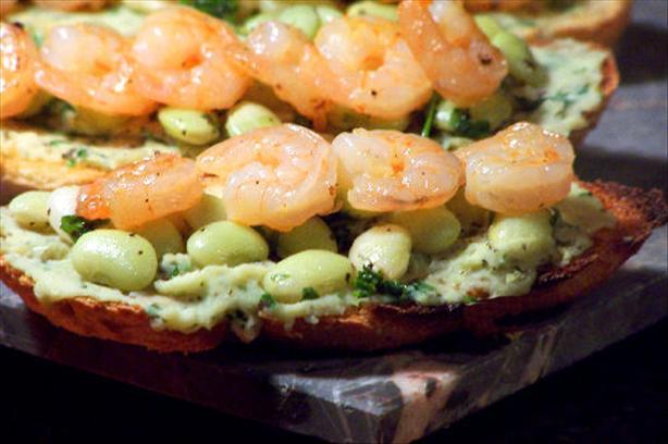 Bruschetta With Lima Bean Salad and Lemon Shrimp