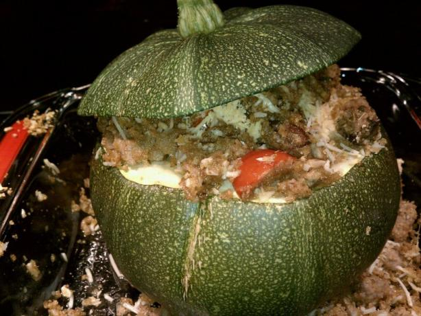 Balsamic Stuffed Round Zucchini