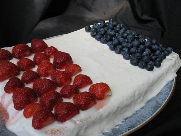 Fourth of July or French Flag White Sheet Cake With Raspberries