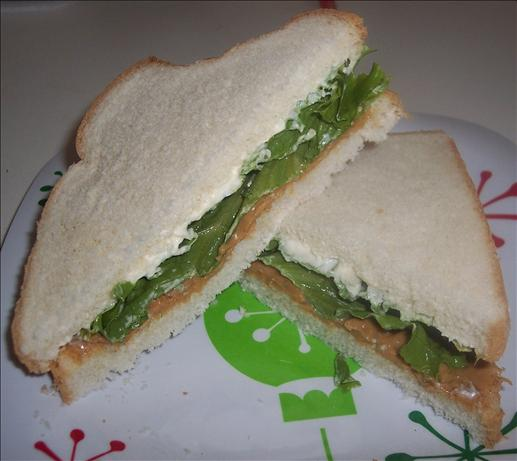 Peanut Butter, Lettuce and Mayo Sandwich