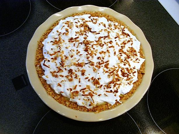 Pineapple Coconut Cream Pie in Coconut Cookie Crust