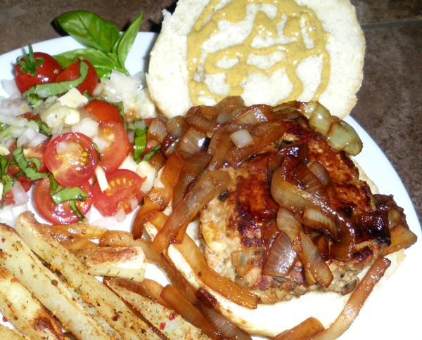 Garlic Mushroom Pork Burgers