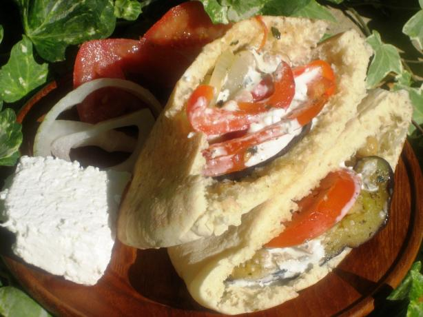 Roasted Vegetable Pita With Creamy Feta Dressing