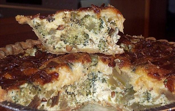Roasted Broccoli, Bacon Quiche