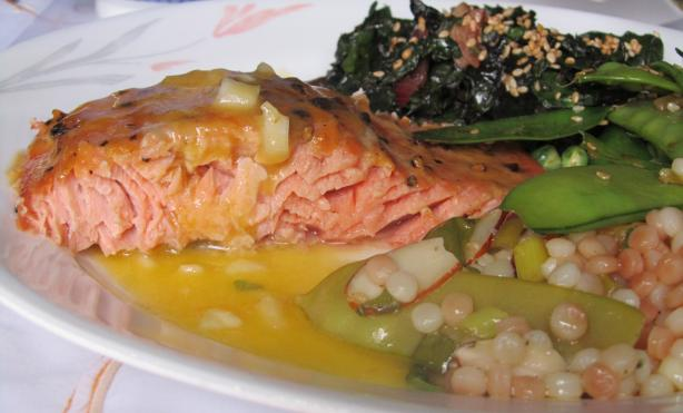 Cedar Planked Salmon With Sweet Mustard Vinaigrette