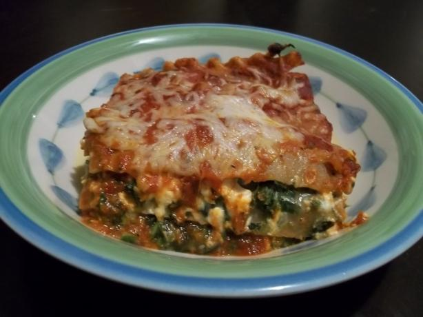 Portabella Mushroom With Spinach and Feta Lasagna (Vegetarian)