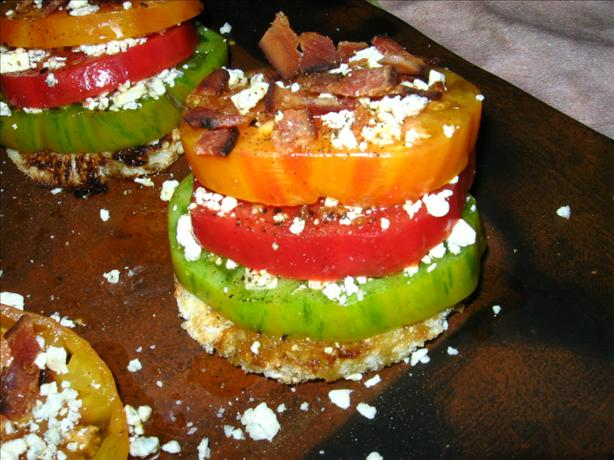 Tomato Towers With Blue Cheese & Bacon