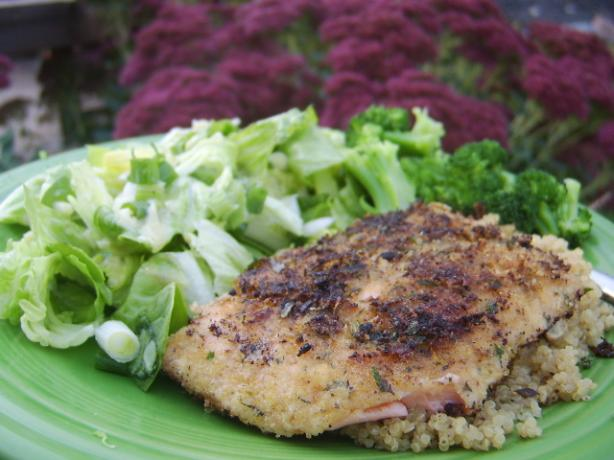 Herb Crusted Salmon With Mixed Greens Salad