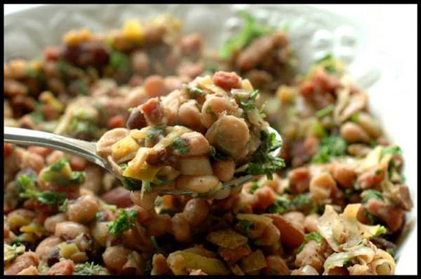 Warm Bean Salad with Balsamic-Bacon Vinaigrette