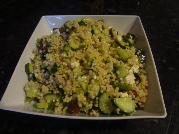 Israeli Couscous Salad With Asparagus, Cucumber and Olives